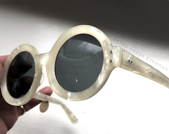RESERVED for Caitlyn Rare French Thick Pearl White Round Sunglasses Non Rx Made in France Eyewear Glasses Eyeglasses Frames Vintage Ivory