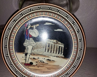 Collectible Parthenon Copper Plate Made in Greece   7x7