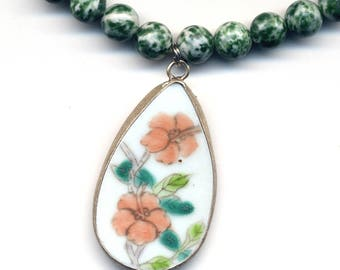 Porcelain Pendant on Green Tree Agate Necklace, Pottery Shard Necklace, Porcelain Jewelry , Pottery Pendant - Handmade Jewelry by AnnaArt72