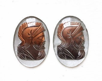 vintage salvaged reversed etched cabochons with copper and silver Spartan soldier head designs--matching lot of 2