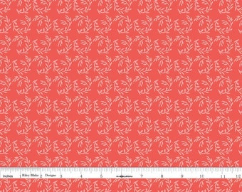 Coral Floral Sprigs Fabric, Floral Quilt Fabric, Riley Blake Apricot & Persimmon C4904 Fern, Carina Gardner, Coral Sprigs Fabric, Cotton