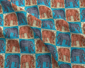 Ornate Elephants Fabric - Elephants X 4 By Linsart- Elephants Blocks Pen And Ink Watercolor Check Cotton Fabric By The Yard With Spoonflower