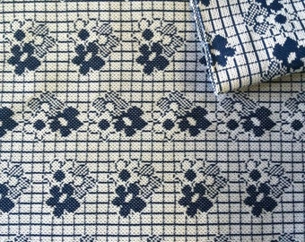 Vintage Fabric 70's Polyester, Floral, Navy Blue, White, Geometric, Material, Textiles