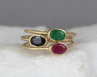 Gemstone Stacking Rings - You choose Emerald Sapphire or Ruby - Genuine Colored Gems - 14K Yellow Gold - Birthstone Rings