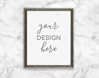 """Silver Antique Frame Mockup on Marble Desk / Styled Stock Photography / 8""""x10"""" Frame PSD smart object and PNG / Styled Desk with Frame"""