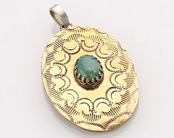 Authentic southwestern hand-stamped brass pendant with natural Royston turquoise stone