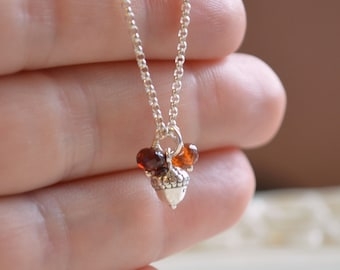 Fall Flower Girl Necklace, Acorn, Sterling Silver, Child Children Girl, Autumn, Rolo Chain, Woodland, Simple Wedding Jewelry