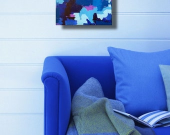 Small original painting blue indigo abstract art