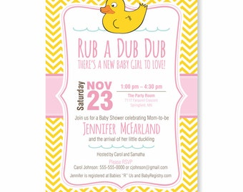 Rub A Dub Dub Baby Shower Invite |  Rubber Duck party, Boy, Girl or Gender Neutral, WE or YOU Print, 5X7, Printable, Welcome new baby