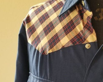 Vintage 60s mens western shirt, navy with plaid yoke 16 1/2 × 35