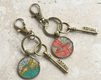 Map Keychain  Custom City with Bronze Dream Key  Mother's Day  or Graduation Gift
