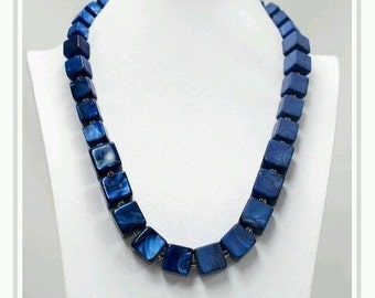 Navy chunky resin half shiny and half matte cube link long necklace