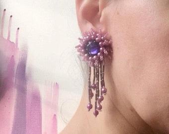 Vintage 1950s 1960s Beautiful Beaded Statement Clip on Earrings Pink Purple