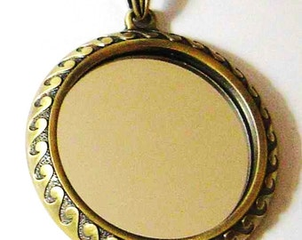 Unique Mirror Pendant Antique Gold With Bail 67mm