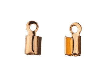 Fold-Over Cord End Gold Finished Brass fits 2mm Cord sold per pack of 80pcs