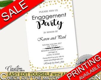 Engagement Party Invitation Bridal Shower Engagement Party Invitation Gold Confetti Bridal Shower Engagement Party Invitation Bridal CZXE5