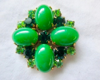 Outstanding Czech Vintage Style Emerald Green Jade Green  Must Have