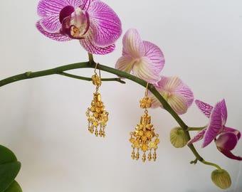 22 K gold chandelier earrings
