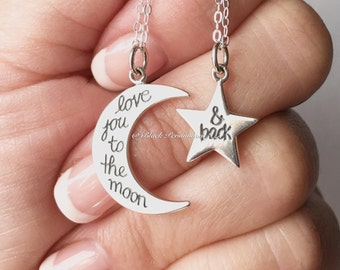 Love You to the Moon and Back Star and Moon Necklace Set - Solid 925 Sterling Silver Pendant Charm -  Insurance Included
