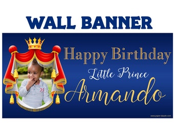 First Birthday Prince Banner ~ Personalized Photo Happy Birthday, Royal Crown Birthday, Royal Birthday Banner, Prince Birthday Banner