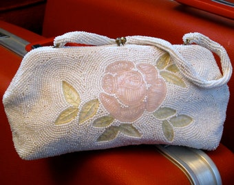 """Vintage """"Bags by... JOSEF"""" Designer Hand Beaded Purse with gorgeous Flower detail, 50's, 40's"""