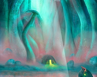 The Researcher 8X10 print - space art, space swamp, bioluminescence, lisa falzon art, green print, boy's room, feminine space art