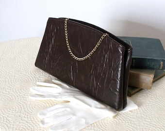 Clutch Purse Vintage 1970's Clutch Brown Hand Held Handbag Textured Vintage Purse