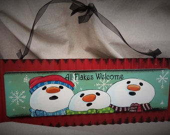 Snowman Welcome door hanger Metal sign
