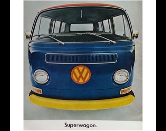 VW Station Wagon. Van Barndoor 21 windows SUPERWAGON with cool hippie colors.  Ready for Framing.