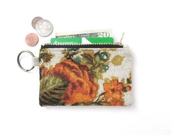 Keychain Wallet Coin Purse Zipper Pouch Floral Linen