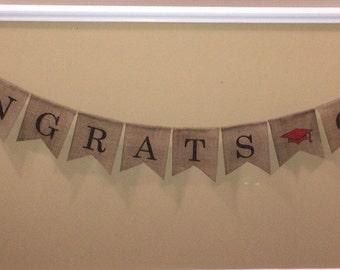 Congrats Grad Burlap Banner, Congrats Grad Banner, Congrats Grad Sign, Congrats Grad Decoration, 2015 Grad Banner