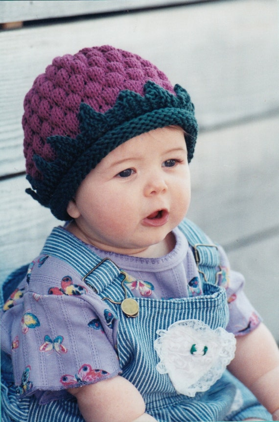 Baby Hat Knitting Pattern - Fiber Trends A Berry Cute Hat Knitting ...