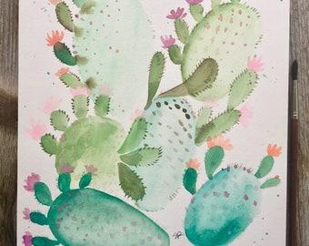 Flowering Cactus Watercolor
