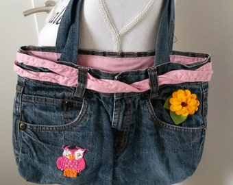 Handmade bag of old (washed) jeans, blue with pink, owl, flower