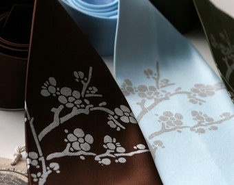 Cherry Blossom necktie. Floral silkscreen men's tie. Sakura design. Choose color and standard, narrow or skinny width microfiber.