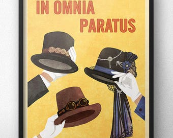 In Omnia Paratus Steampunk Hats Poster - Vintage Retro Style - Inspired by Gilmore Girls