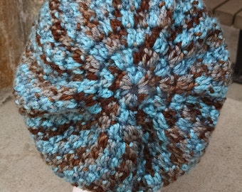 Hand-Crocheted, Lightweight, Slouchy Hat in Waterfall