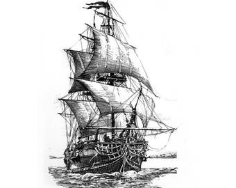 Sailing Ship - Original handmade ink drawing. Framed. Black and White. Nautica theme.