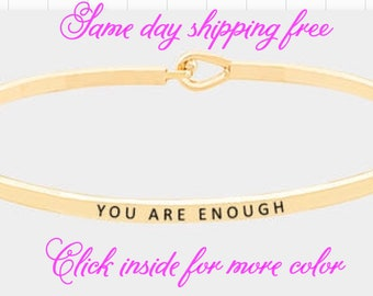YOU ARE ENOUGH-inspired thin hook bracelet