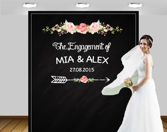 Personalized Wedding, Chalkboard Photo Booth Backdrop, Chalkboard, Wedding Backdrop, Wedding Photo Booth Backdrop, Poster, Sign, 84x96''
