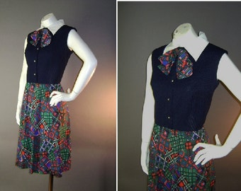 60s dress 1960s vintage PLAID PRINT NAVY fit and flare red green poly jersey mod bow dress