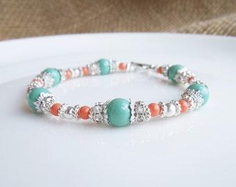 Bridesmaids Jewelry - Coral and Mint Bridesmaid Full Beaded Bracelet or Necklace - Pearls and Crystals - Rhinestone - Bridesmaids Beaded Jew