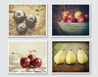 Rustic Kitchen Decor, Country Kitchen Decor, Farmhouse Kitchen Art, Food Pictures for Kitchen, Set of 4 Kitchen Prints or Canvases.