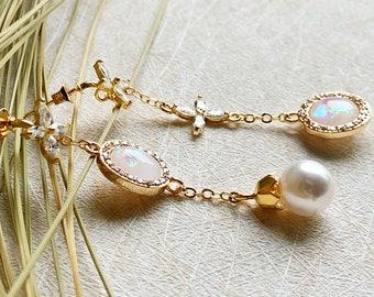 Asymmetric White Opal /Clover Zircon Earrings/ Gold Earrings, Jewelry crystal glass Dangle Earrings, Wedding Jewelry ,Bridal Earrings
