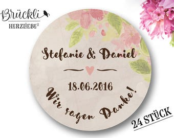 """Aufkleber, Hochzeit """"Danke"""" (Vintage) / Hochzeitsdeko / Hochzeitsfeier / Danksagung"""