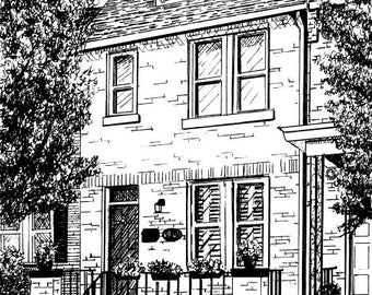 Commissioned House Portrait in Pen and Ink by Suzanne Churchill, Perfect Realtor Closing Gift, New House Gift from Your Reference Photo