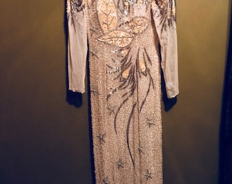 Vintage heavily beaded & sequined Evening Gown
