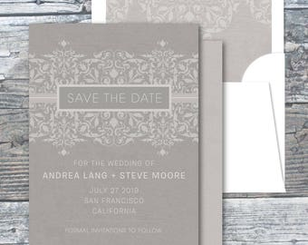 Taupe Ornament Wedding Save the Date | Digital File or Printed | Elegant Save the Date Cards