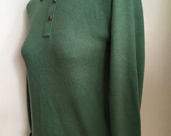 1960's Soft Green Acrylic Pullover Sweater with Brass Buttons/Mad Men