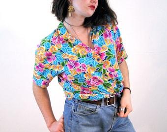 80s Tropical Print Blouse L, Bright Floral Orchids Vintage Rayon Aloha Women's Flower Shirt, Large